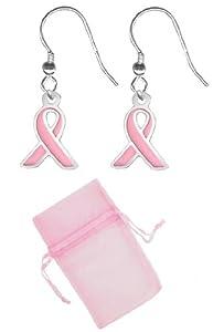 Pink Ribbon Earrings-Pair of Breast Cancer Awareness Pink Ribbon Fashion Earrings w/Free Pink Gift Bag