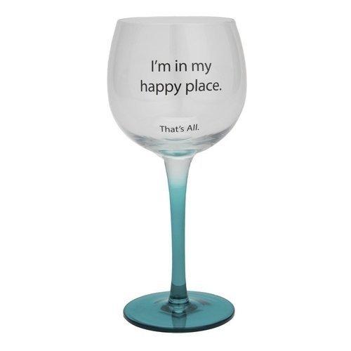 Santa Barbara Design Studio Happy Place That's All Wine Glass, Blue