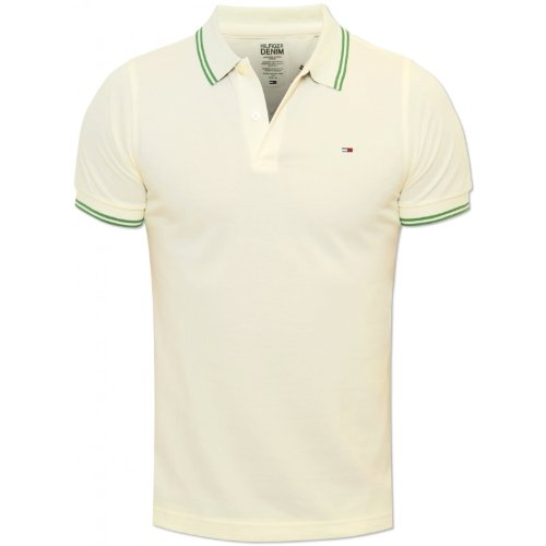 Tommy Hilfiger Mens Off White Paddy13 Polo Shirt Green Trimming 100% Cotton NEW Off White Small