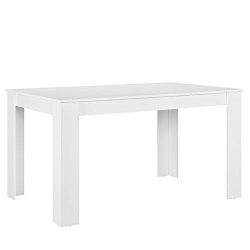 Esstisch Schwarz Matt ~ [encasa] Esstisch weiß matt mit 6 Stühlen schwarz Kunstleder gepolstert 140×