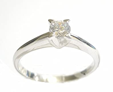 WHITE GOLD RING 18KT SOLITAIRE WITH ZIRCON