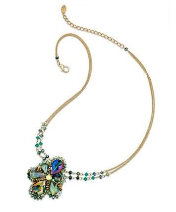 """C.A.K.E. By Ali Khan Necklace, 18"""" Gold-Tone Bright Green Glass Bead Flower Pendant Necklace"""