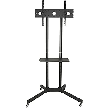 VIVO Black TV Cart for LCD LED Plasma Flat Panel Stand w/Wheels Mobile fits 32
