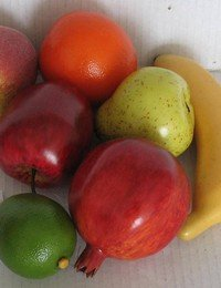 ARTIFICIAL FRUITS - realistic set of FRUITS for DISPLAY - set of 7 (Glass Fruit Display compare prices)