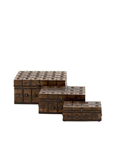 Set of 3 Wood and Metal Grid Boxes, Brown