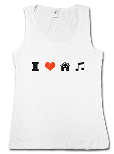 """I LOVE HOUSE MUSIC """"J"""" DONNA CANOTTA TANK TOP - Electro Dance Techno Disco Acid Chillout Minimal DJ Club After Hour XTC Indie Tunes Taglie S - 5XL"""
