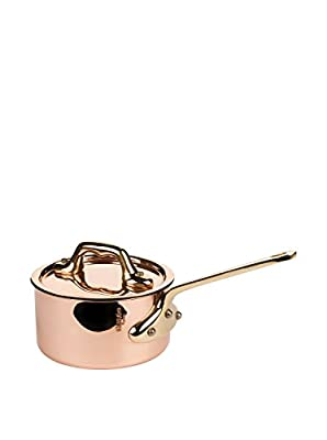 Mauviel M'Heritage Mini Saucepan and Lid, Bronze Handle, 0.4-Qt.