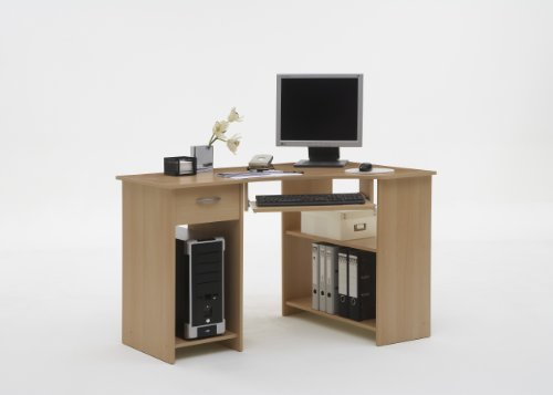 SHARPE Beech Colour Wood Corner Computer / PC Work Station Table Desk with Drawer, File Storage and Keyboard Shelf by DMF (FLX)