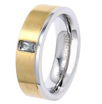 6MM Gold Plated Stainless Steel Ring with Radiant CZ in Center