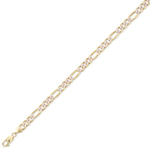 9Ct Gold 3 + 1 Figaro Chain 16 inch/6mm