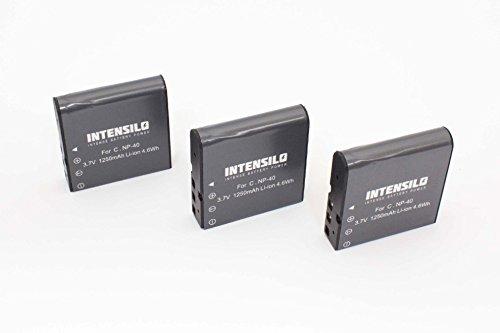 INTENSILO 3 x Li-Ion Akku 1250mAh (3.7V) für Videokamera Camcorder Silvercrest DV-1000HD, DV-5300HD wie NP-40, PAC-0040.