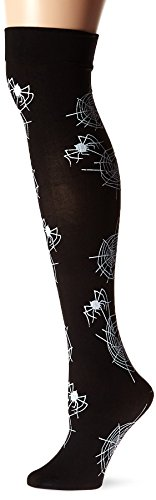 Fever Women's Opaque Hold-Ups Glow In The Dark Spiderweb Print In Display Box, Black, One Size