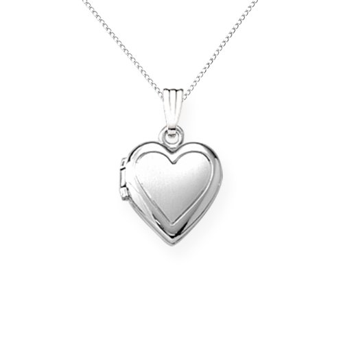 Sterling Silver Children's Hand Engraved Heart Locket Pendant, 13""