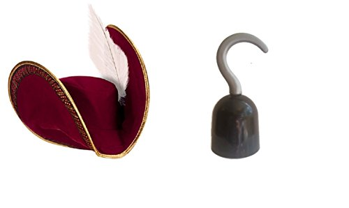 Pirate Hat and Hook Bundle- 1 Disney Captain Hook Pirate Hat and 1 Hook