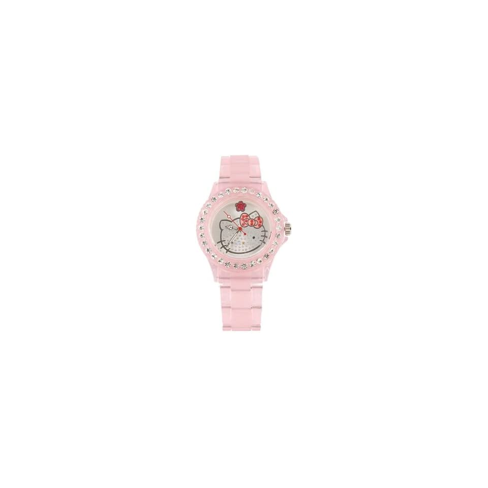Crystal Hello Kitty Head Portable Quartz Girls Kids Watch Pink