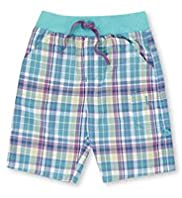 Autograph Pure Cotton Ribbed Waistband Checked Shorts