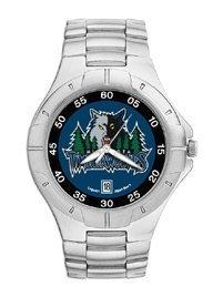 Minnesota Timberwolves Mens Pro Ii Sterling Silver Bracelet Watch by Logo Art