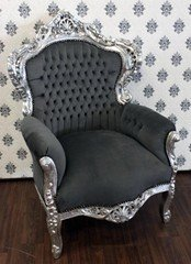 Baroque armchair King grey / silver