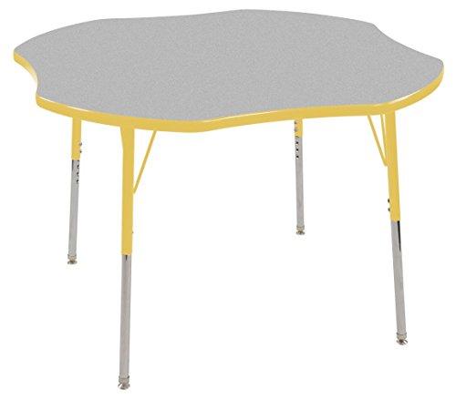 Ecr4kids 48 clover shape activity table standard legs w swivel glides gray top yellow edge - Table glides for legs ...