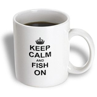 3Drose Mug_157720_1 Keep Calm And Fish On Carry On Fishing Gifts For Fishermen Fisherman Fun Funny Humor Humorous Ceramic Mug, 11-Ounce