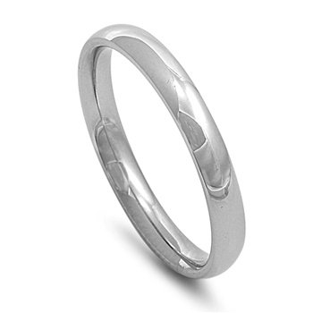Stainless Steel Wedding Band - Comfort Fit - Size 10