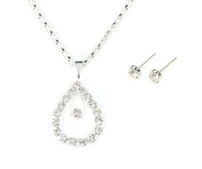Tear Drop Pendant with Rhinestone Detailing Necklace and Earrings Set