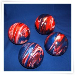 Premium Quality EPCO 4 Ball 107mm Tournament Bocce Set - Marbled Red/White/Bl...