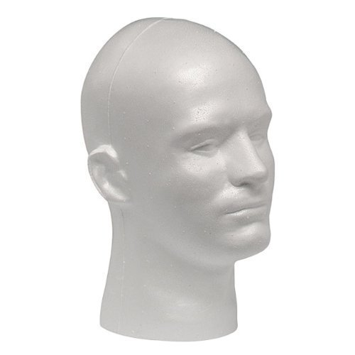 Case Pack of 1 Giell Styrofoam Foam Mannequin Wig Head Display Male White (Wig Display Case compare prices)