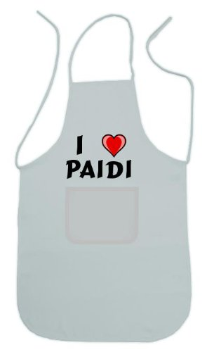 Personalisierte weiße Schürze mit Aufschrift Ich liebe Paidi (Vorname/Zuname/Spitzname)