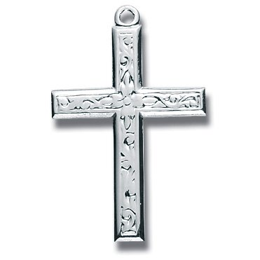 Sterling Silver Medium Fancy Design Cross with 18