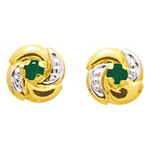 So Chic Jewels - Ladies 18k Yellow Gold Green Emerald & Clear Cubic Zirconia Flower 4 Petals Spinning Stud Earrings