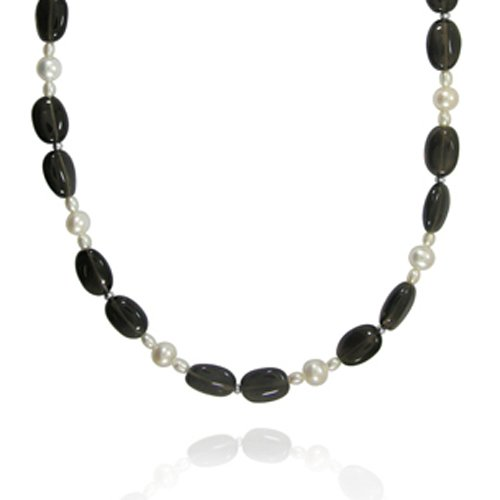 Sterling Silver Nugget Shape Smoky Quartz and Freshwater Cultured Pearl Necklace, 32