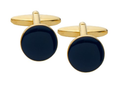 Code Red Round Gold Plated Cufflinks with Navy Enamel