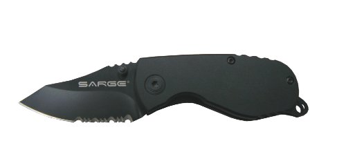 Sarge Knives SK-800 Compact Tactical Folder Knife with 2-1/2-Inch Partially Serrated Stainless Blade and 6061 Aircraft Black Handle, Black