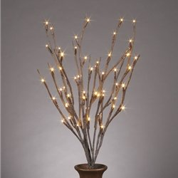 "Lighted Everlasting Glow Branches, 20"" Bendable Brown 60 Led, Battery Op With Timer"