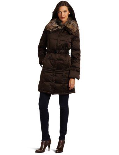 Via Spiga Women's Caserta Faux Fur Trim Belted Down Filled Satin Coat