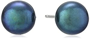 Sterling Silver Black Freshwater Cultured Pearl Button Stud Earrings (6.5-7mm )