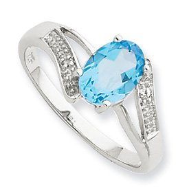 Sterling Silver Rhodium Light Swiss Blue Topaz and Diamond Ring - Size 7 - JewelryWeb