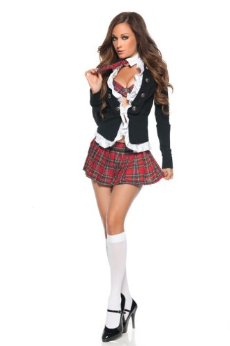 Ladies 4 Piece Sexy College School Girl St Trinians Adult Fancy Dress Costume Outfit 8 10 12