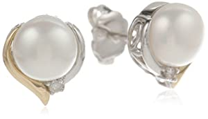 S&G Sterling Silver and 14k Yellow Gold Freshwater Cultured Pearl 7mm Stud Earrings