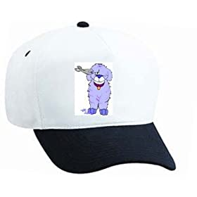 White Cap with eye, sheep, dog, grooming, scissors