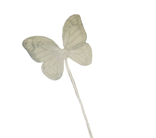 WeGlow International Mini Monarch Butterfly Wand, White (2 Wands) - 1
