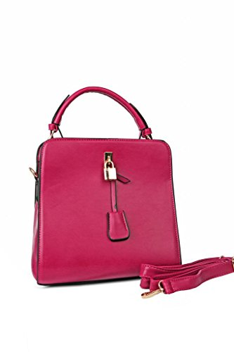 Just Women Just Women Trendy Fuschsia PU Leather Hand Bag (Multicolor)