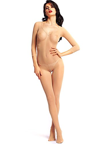 Amoretu Womens Opaque Sleeves Scoop Neck Bodystocking, Nude, OneSize (Woman Full Body Suit compare prices)