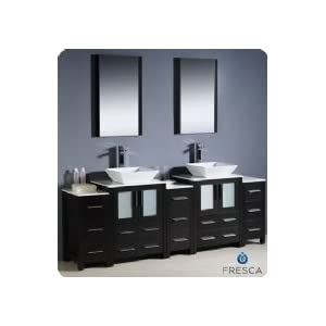 SOILD WOOD 30QUOT; BATHROOM VANITY CABINET GLASS VESSEL SINK FAUCET MO