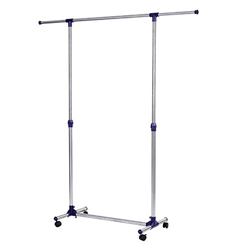 SONGMICS Rolling Clothes Rack Adjustable Garment Rack Portable Hanging Rack for Clothes with Brake Wheels ULLR01L (Garment Rack Portable compare prices)