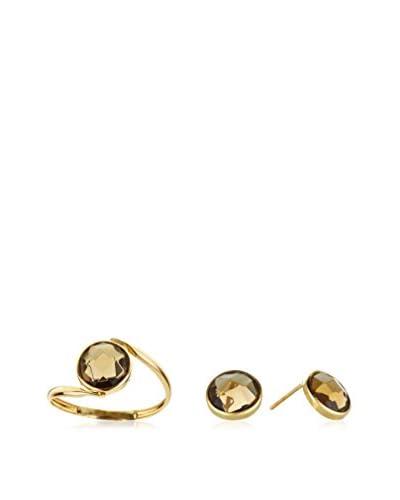 GOLD & DIAMONDS Conjunto de anillo y pendientes
