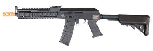 lancer tactical lt-10 beta project ak-47 ris electric airsoft gun polymer body metal gearbox fps-380 w/ high capacity magazine (black)(Airsoft Gun) (Ak 47 Airsoft Gun Electric compare prices)
