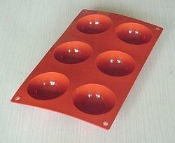 Moule 6 Demi-Sphères        Silicone  Hp France* Moule 6 demi-sphères diam.70 mm haut.30 mm.