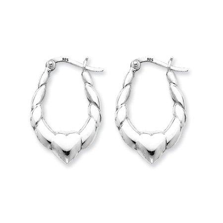 Puffed Heart Hoop Earrings in Silver
